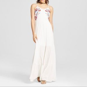 Xhilaration embroidered white maxi dress